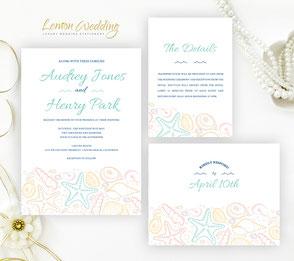 Beach wedding invitations + RSVP postcards + Info cards