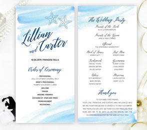 Starfish Wedding Ceremony Programs
