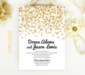 polka dot wedding invitations printed on shimmer cardstock