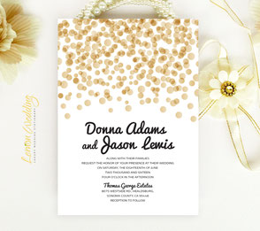polka dot wedding invitations printed on shimmer cardstock