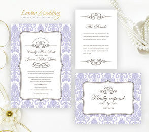Damask invitations | Purple wedding