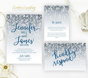 Navy and silver wedding invitation sets