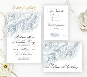 Peacock wedding invitation sets | silver wedding