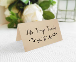 Kraft wedding name cards folded
