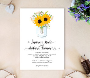 Mason jar themed wedding invitations