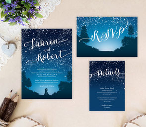 Bride & groom wedding invitations