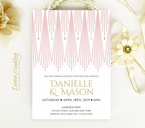 Pink and gold wedding invites