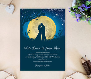 Moon night wedding invitations