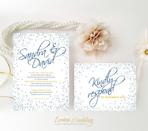 Silver and navy blue wedding invitations