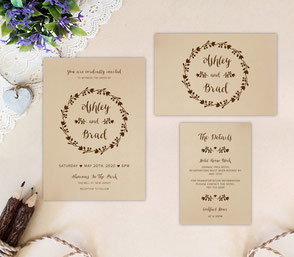 Wreath Wedding Invitation Kits