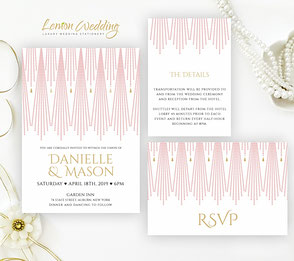 Blush pink and gold wedding invitations
