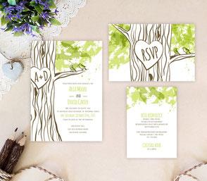 Rustic wedding invitations kits