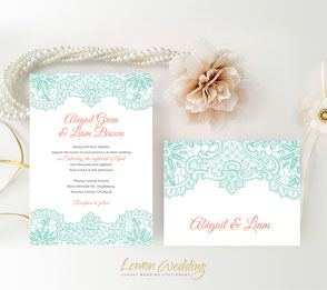 Mint and coral wedding invites