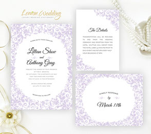 Elegant Purple wedding invitations packs