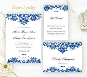 Navy blue elegant wedding invitations