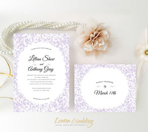 Light Purple wedding invitations kits