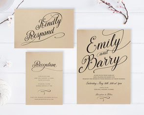 Kraft paper wedding invitations sets