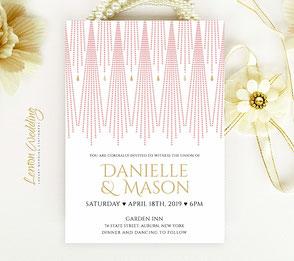 Gatsby themed wedding invitation