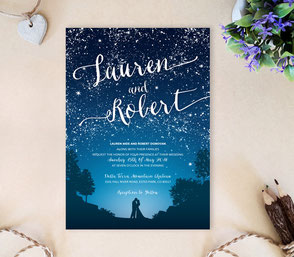 starry night themed party | romantic invitations
