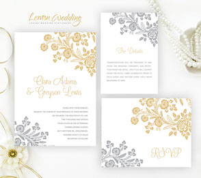 Silver and gold wedding invitations
