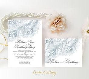 Peacock wedding invites | silver wedding