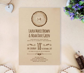 Rustic wedding invitations with tree stump