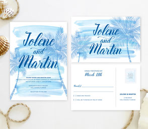 Palm tree wedding invitations with RSVP