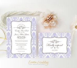 Damask purple wedding invitation with RSVP