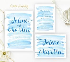 Navy blue wedding invitations packs