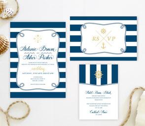 Nautical wedding invitations set