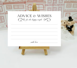 printed advice and wishes cards