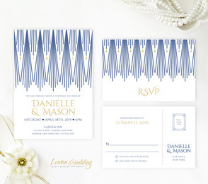Cheap wedding invites | Navy and gold wedding