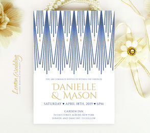 Navy and gold invitations