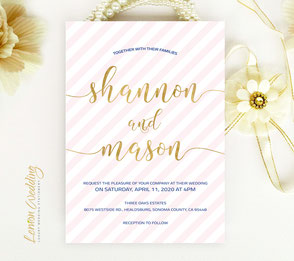 Blush pink and cold invitations