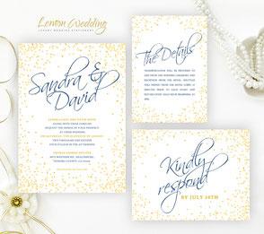 Confetti wedding invitation sts