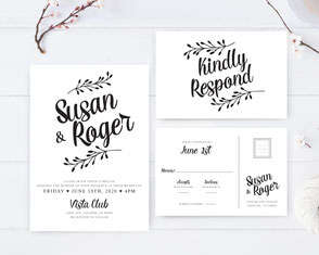 Traditional wedding invitations + RSVP cards