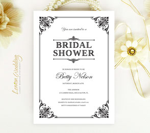 Black and white bridal shower invites