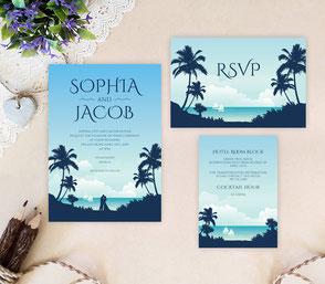 Destination wedding invites | Beach party invitations