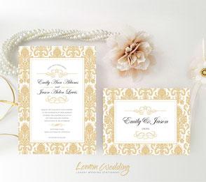Golden wedding invitations | Damask themed