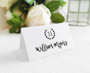 Printed wedding name cards