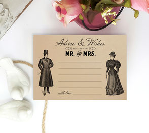 Retro Wedding Advice Cards