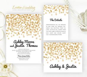 gold polka dot wedding invitations