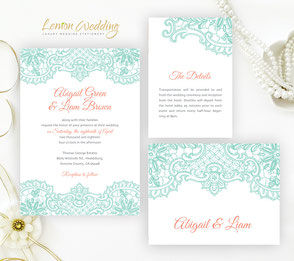 Mint and coral wedding invitation