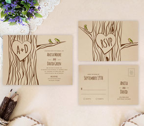 Tree wedding invites