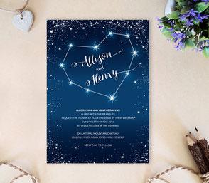 Star wedding invitations | dark blue wedding