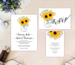 Mason jar wedding invites