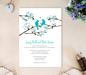 Romantic wedding invitations | Love bird themed