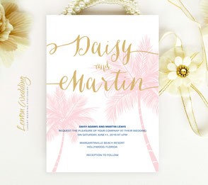 Nautical wedding invitations printed on shimmer cardstock
