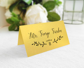 Gold paper wedding name cards personalized