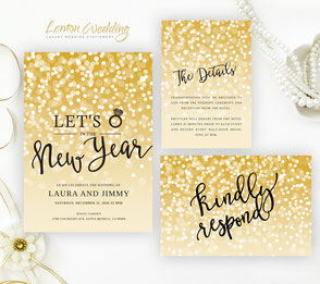 New Year's Eve wedding invitation packs